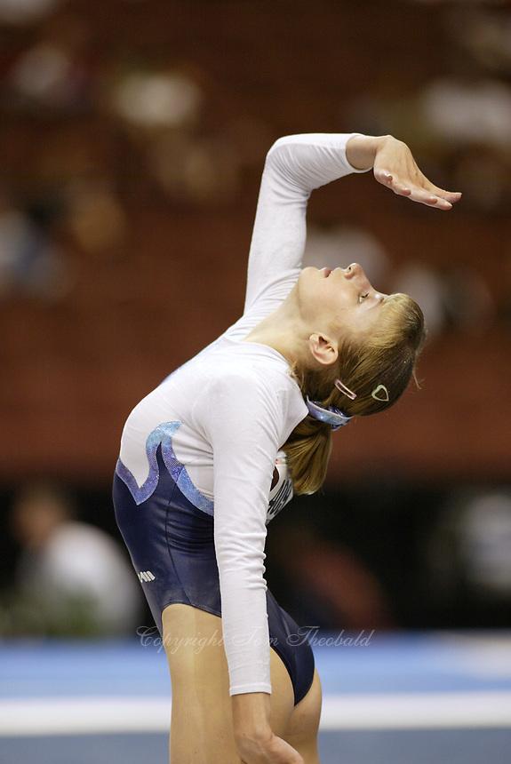 Marina Proskurina of Ukraine performs at 2003 World Championships Artistic Gymnastics on August 18, 2003 at Anaheim, California, USA.