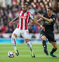 Jese of Stoke City holds off Nemanja Matic of Man Utd during the Premier League match between Stoke City and Manchester United at the Britannia Stadium, Stoke-on-Trent, England on 9 September 2017. Photo by Andy Rowland.
