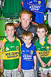Gavin O'Sullivan Firies, Adam Lyne Listowel and Tomas O'Connor Ballyduff meets the Gooch at the opening of the Kerry GAA shop in the Killarney Outlet Centre on Saturday