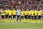 11 September 2012: The Jamaica starting eleven during a moment of silence before the game. (l to r): Omar Cummings (JAM) (10), Ryan Johnson (JAM) (9), Jason Morrison (JAM) (7), Rodolph Austin (JAM) (17), Dwayne Miller (JAM) (13), Arian Mariappa (JAM) (19), Jermaine Taylor (JAM) (6), Lovel Palmer (JAM) (14), Luton Shelton (JAM) (21), Je-Vaughn Watson (JAM) (15), Nyron Nosworthy (JAM) (2). The United States Men's National Team defeated the Jamaica Men's National Team 1-0 at Columbus Crew Stadium in Columbus, Ohio in a CONCACAF Third Round World Cup Qualifying match for the FIFA 2014 Brazil World Cup.