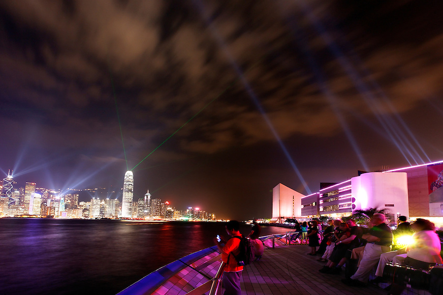 Laser light show above Hong Kong skyline, Victoria Harbour and Kowloon's Avenue of Stars, Hong Kong SAR, China, Asia