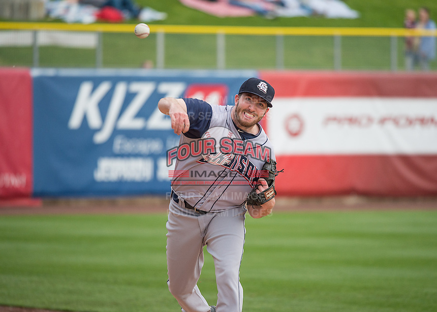 Colorado Springs Sky Sox starting pitcher Tyler Cravy (30) warms up in the bullpen prior to the Pacific Coast League game against the Salt Lake Bees in Pacific Coast League action at Smith's Ballpark on May 22, 2015 in Salt Lake City, Utah.  (Stephen Smith/Four Seam Images)