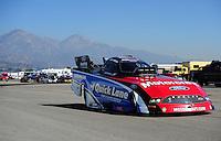 Feb. 10, 2012; Pomona, CA, USA; NHRA funny car driver Bob Tasca III during qualifying at the Winternationals at Auto Club Raceway at Pomona. Mandatory Credit: Mark J. Rebilas-