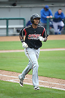 Franchy Cordero (26) of the Lake Elsinore Storm runs to first base during a game against the Rancho Cucamonga Quakes at LoanMart Field on April 10, 2016 in Rancho Cucamonga, California. Lake Elsinore defeated Rancho Cucamonga, 7-6. (Larry Goren/Four Seam Images)