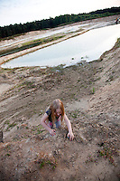 Erosion of farm field mined for sand used in road construction. Zawady Central Poland