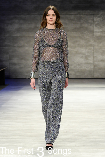A model walks the runway at the Charlotte Ronson fashion show during Mercedes-Benz Fashion Week Fall 2015 at The Pavilion at Lincoln Center in New York City.