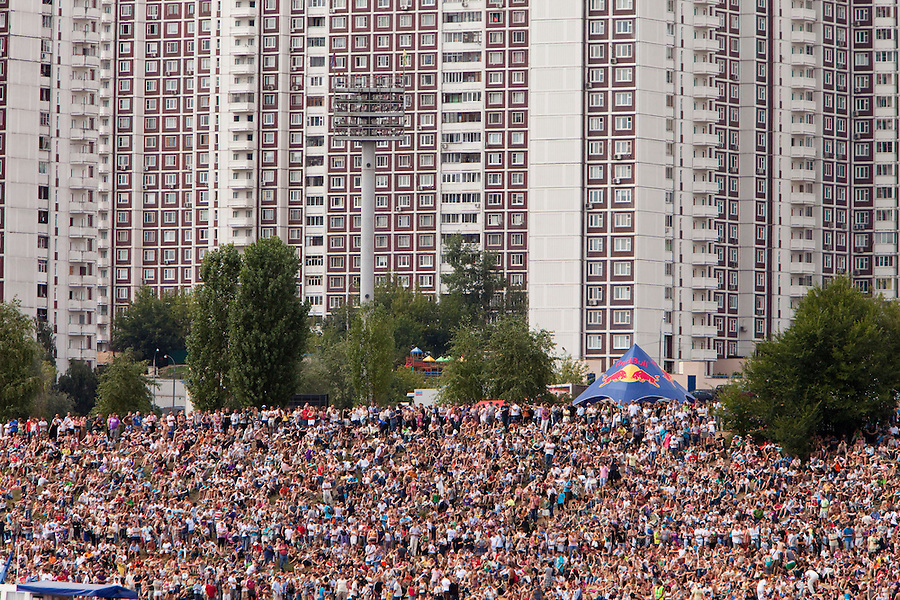 Moscow Russia, 07/08/2011..Some 100,000 people gather to watch Red Bull Flugtag, in which a variety of homemade makeshift aircraft were launched over and into the Moscow river.