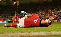 Wales' Tyler Morgan is tackled by Tonga's Sitiveni Mafi<br /> <br /> Photographer Ian Cook/CameraSport<br /> <br /> Under Armour Series Autumn Internationals - Wales v Tonga - Saturday 17th November 2018 - Principality Stadium - Cardiff<br /> <br /> World Copyright © 2018 CameraSport. All rights reserved. 43 Linden Ave. Countesthorpe. Leicester. England. LE8 5PG - Tel: +44 (0) 116 277 4147 - admin@camerasport.com - www.camerasport.com