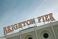 Brighton pier sign, England, United Kingdom