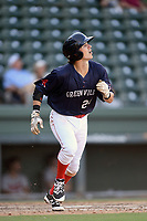 Shortstop Ryan Fitzgerald (24) of the Greenville Drive runs out a batted ball in Game 1 of a doubleheader against the Rome Braves on Friday, August 3, 2018, at Fluor Field at the West End in Greenville, South Carolina. Rome won, 7-6. (Tom Priddy/Four Seam Images)