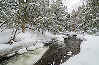 Fresh snow along the fast-moving Carp River. Marquette, MI