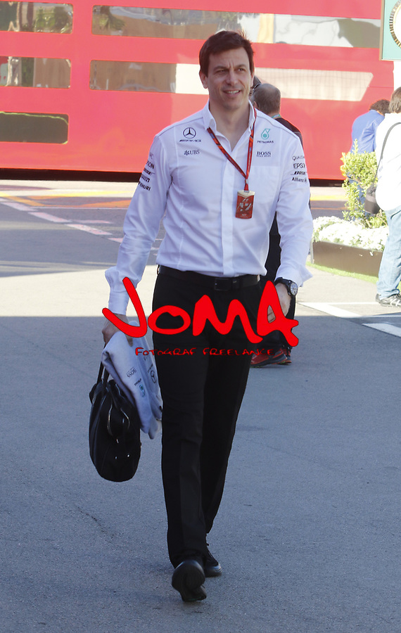 Toto Wolff in Paddock at Spanish Grand Prix . Barcelona-Catalunya track