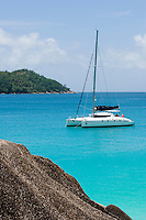 Seychelles, Island Praslin, Anse Lazio: sailing ship, catamaran, Anse Lazio Bay<br />