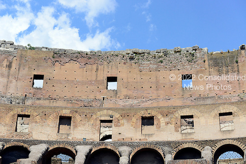 Interior view of the upper structure of the Colosseum, also known as the Flavian Amphitheatre, in Rome, Italy on Friday, May 25, 2012.  This photo was taken from the restored floor of the structure..Credit: Ron Sachs / CNP