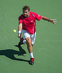 Stanislaus Wawrinka (SUI) splits the first two sets against Novak Djokovic (SRB) in the men's semis at the US Open being played at USTA Billie Jean King National Tennis Center in Flushing, NY on September 7, 2013