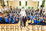A great welcome  for MEP Sean Kelly  who visited Presentation  Primary Tralee, for Blue Flag Showcase Day programme on Monday. Pictured with Principal Patrick Sayer and Pupils