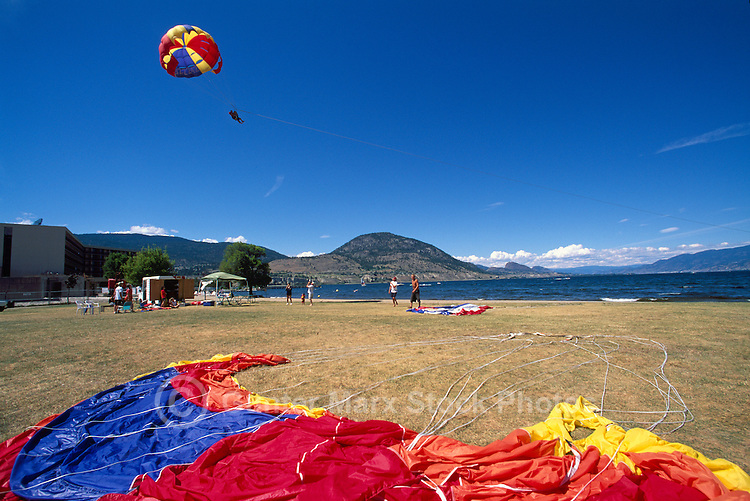 Parasailing at Penticton, BC, South Okanagan Valley, British Columbia, Canada, Summer
