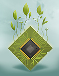 Illustrative image of plants growing on microchip representing go green concept