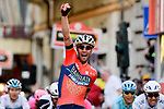 Vincenzo Nibali (ITA) Bahrain-Merida wins the 109th edition of Milan-Sanremo 2018 running 294km from Milan to Sanremo, Italy. 17th March 2018.<br /> Picture: LaPresse/Marco Alpozzi | Cyclefile<br /> <br /> <br /> All photos usage must carry mandatory copyright credit (&copy; Cyclefile | LaPresse/Marco Alpozzi)