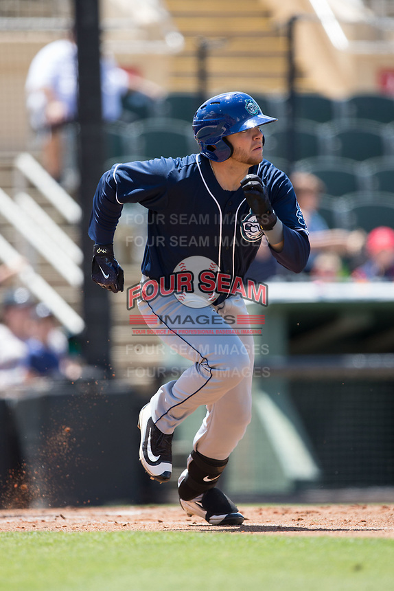 Cole Anderson (16) of the Asheville Tourists hustles down the first base line against the Kannapolis Intimidators at Kannapolis Intimidators Stadium on May 7, 2017 in Kannapolis, North Carolina.  The Tourists defeated the Intimidators 4-1.  (Brian Westerholt/Four Seam Images)