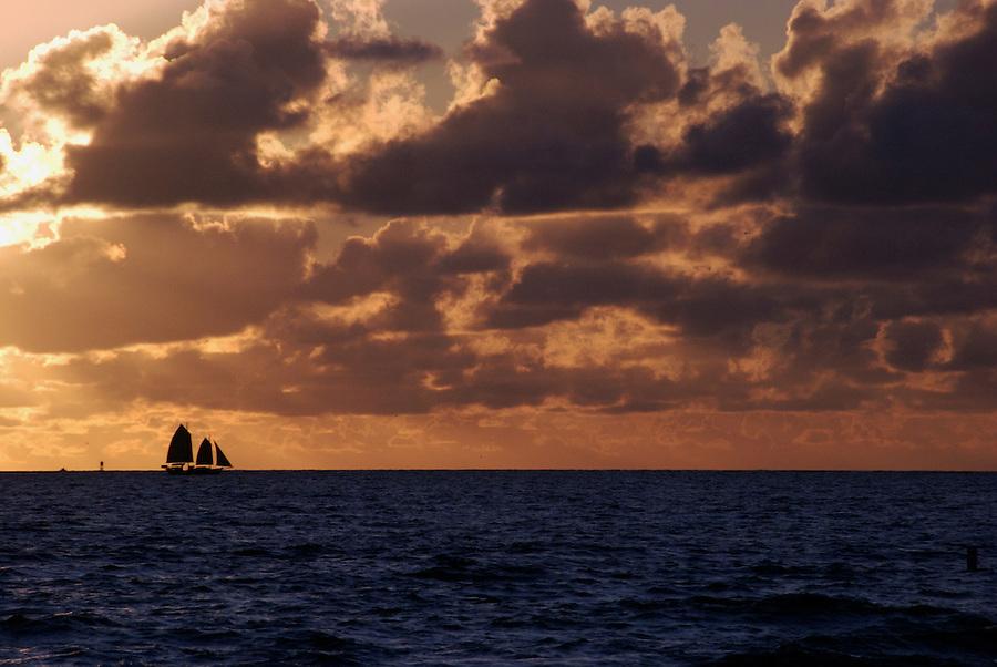 Sailboat in Miami Beach at Sunrise.