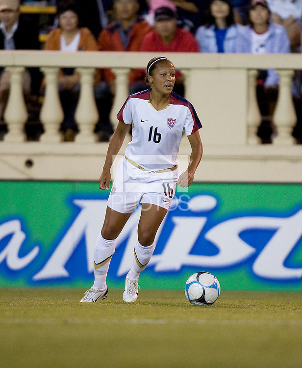 Angela Hucles looks for a teammate. USA defeated Japan 4-1 at Spartan Stadium in San Jose, CA on July 28, 2007.