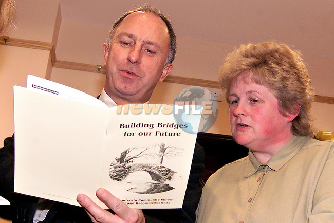 Minister Dermot Ahern and Geraldine McCullen reading through 'Building Bridges for our Future', the Termonfeckin community survey which was launched in Termonfeckin Credit Union..Picture: Paul Mohan/Newsfile