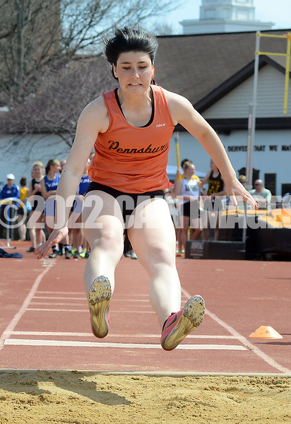 Pennsbury's Rebecca Susko competes in the long jump at the Central Bucks West Relays Saturday April 18, 2015 in Doylestown, Pennsylvania.  (Photo by William Thomas Cain/Cain Images)