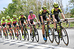The peleton including race leader Maglia Rosa Simon Yates (GBR) and his Mitchelton-Scott team in action during Stage 7 of the 2018 Giro d'Italia, a flat stage running 159km from Pizzo to Praia a Mare, Italy. 11th May 2018.<br /> Picture: LaPresse/Fabio Ferrari   Cyclefile<br /> <br /> <br /> All photos usage must carry mandatory copyright credit (&copy; Cyclefile   LaPresse/Fabio Ferrari)