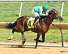 Galaxy Express winning at Delaware Park on 7/27/16<br /> oops James Vail drop rein and gets in back