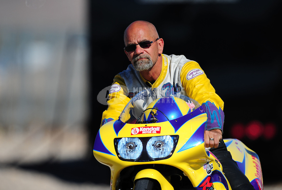 Oct. 29, 2011; Las Vegas, NV, USA: NHRA pro stock motorcycle rider Wesley Wells during qualifying for the Big O Tires Nationals at The Strip at Las Vegas Motor Speedway. Mandatory Credit: Mark J. Rebilas-