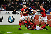 February 1st 2019, St Denis, Paris, France: 6 Nations rugby tournament, France versus Wales;  Louis Picamoles (fr) breaks tackles from the Welsh pack to score his try