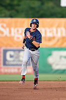 Lowell Spinners right fielder Tyler Dearden (60) running the bases during a game against the Auburn Doubledays on July 13, 2018 at Falcon Park in Auburn, New York.  Lowell defeated Auburn 8-5.  (Mike Janes/Four Seam Images)