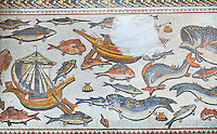 Fish from the 3rd century Roman mosaic villa floor from Lod, near Tel Aviv, Israel. The Roman floor mosaic of Lod is the largest and best preserved mosaic floor from the levant region along the eastern Mediterranean coast. It is unclear whether the owners were Jewish, Christian or pagan but either way they would have been wealthy to own such a magnificent floor. The Shelby White and Leon Levy Lod Mosaic Centre, Lod, Israel.