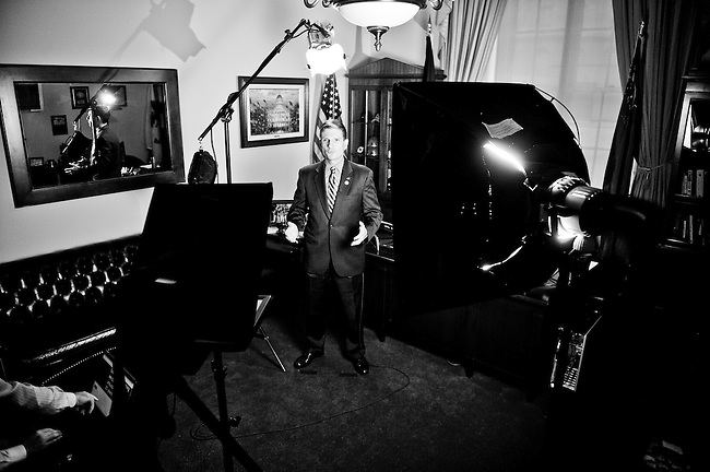 Rep. Heck rehearses the GOP weekly address in his office in the Cannon House Office Building on Nov. 4, 2011. Heck's spot, which aired on Nov. 12, focused on veterans to coincide with Veterans' Day. (Photo By Bill Clark/CQ Roll Call)