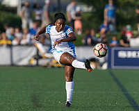 Boston, MA - Saturday August 19, 2017: Jamia Fields during a regular season National Women's Soccer League (NWSL) match between the Boston Breakers (blue) and the Orlando Pride (white/light blue) at Jordan Field. Orlando Pride defeated Boston Breakers, 2-1.
