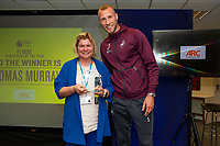 Pictured: Mike van der Hoorn of Swansea City during the Swans Community Trust awards dinner at the liberty stadium in Swansea, Wales, UK <br /> Thursday 02 April 2019