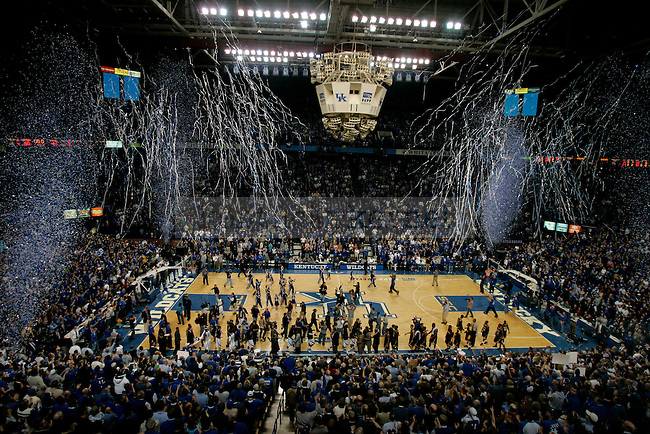 Confetti rains from the rafters following UK's 88-44 win over Drexel in Rupp Arena on Monday, Dec., 21, 2009. This win marked UK's 2,000th win as a program, and is the first team to reach this milestone...Photo by Ed Matthews | Staff