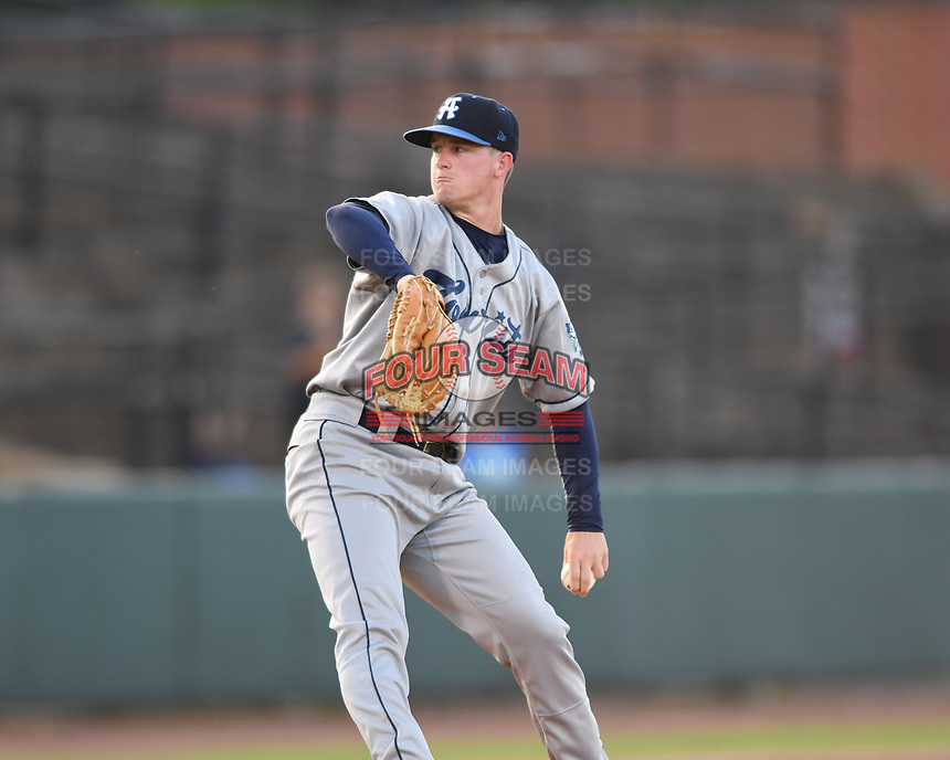 Asheville Tourists starting pitcher Nick Bush (29) throws to a Hickory Crawdad batter during a game at L.P. Frans Stadium on May 8, 2019 in Hickory, North Carolina. The Tourists defeated the Crawdads 7-6. (Tracy Proffitt/Four Seam Images)