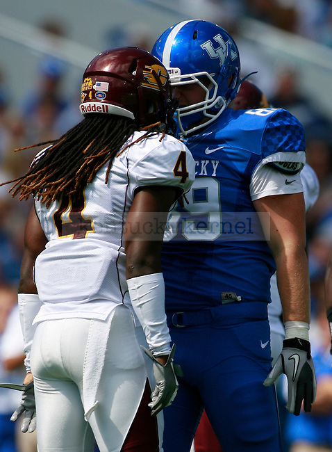 UK tight end Tyler Robinson and Central Michigan defensive back Jahleel Addae face off during the first half of UK's first home game against Central Michigan, Saturday, Sept. 10, 2011 in Lexington, Ky.  Photo by Brandon Goodwin | Staff