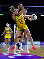 Laura Langman beats Liz Watson to the ball during the Constellation Cup Series international netball match between the New Zealand Silver Ferns and Samsung Australian Diamonds at TSB Bank Arena in Wellington, New Zealand on Thursday, 18 October 2018. Photo: Dave Lintott / lintottphoto.co.nz