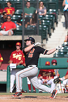 Gabe Clark #16 of the Oregon State Beavers bats against the Southern California Trojans at Dedeaux Field on May 23, 2014 in Los Angeles, California. Southern California defeated Oregon State, 4-2. (Larry Goren/Four Seam Images)