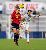ORLANDO, FL - MARCH 05: Alexia Putellas #11 of Spain goes up for a header with Hina Sugita #6 of Japan during a game between Spain and Japan at Exploria Stadium on March 05, 2020 in Orlando, Florida.