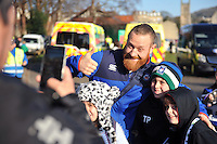 Ross Batty of Bath Rugby poses for a photo with supporters prior to the match. European Rugby Challenge Cup match, between Bath Rugby and Pau (Section Paloise) on January 21, 2017 at the Recreation Ground in Bath, England. Photo by: Patrick Khachfe / Onside Images