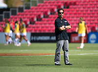 Wake Forest head coach Tony da Luz watches his team before the game at Ludwig Field in College Park, MD.  Maryland defeated Wake Forest, 1-0.
