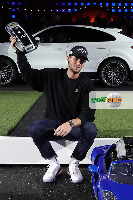 Thomas Pieters (BEL) winner of the Porsche Urban Golf Challenge during previews ahead of the Porsche European Open, Green Eagle Golf Club, Hamburg, Germany. 03/09/2019<br /> Picture: Golffile | Phil Inglis<br /> <br /> <br /> All photo usage must carry mandatory copyright credit (© Golffile | Phil Inglis)