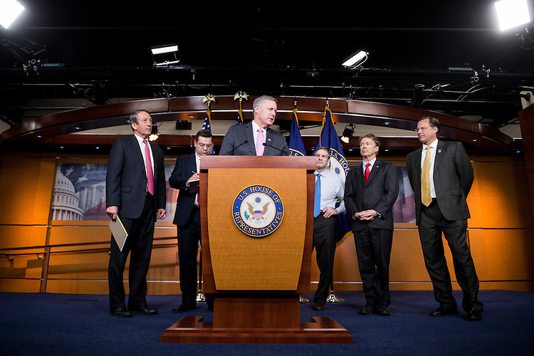 UNITED STATES - FEBRUARY 15: From left, Rep. Mark Sanford, R-S.C., Rep. Tom Garrett, R-Va., Rep. Mark Meadows, R-N.C., Rep. Jim Jordan, R-Ohio, Sen. Rand Paul, R-Ky., and Rep. Dave Brat, R-Va., participate in the House Freedom Caucus news conference on Affordable Care Act replacement legislation on Wednesday, Feb. 15, 2017. (Photo By Bill Clark/CQ Roll Call)
