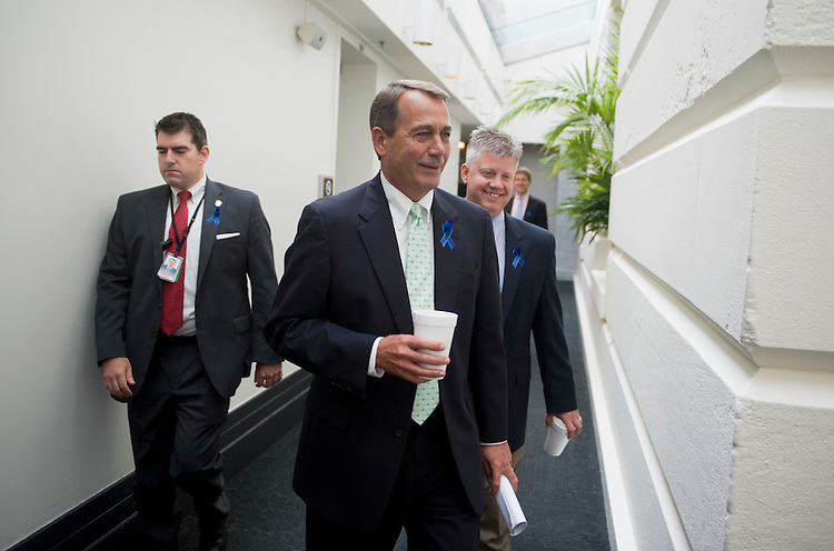 UNITED STATES - JULY 25:  Speaker John Boehner, R-Ohio, makes his way to a meeting of the House republicans in the Capitol.  (Photo By Tom Williams/Roll Call)