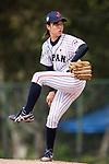 #21 Ono Nanami of Japan serves during the BFA Women's Baseball Asian Cup match between Japan and India at Sai Tso Wan Recreation Ground on September 6, 2017 in Hong Kong. Photo by Marcio Rodrigo Machado / Power Sport Images
