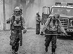 September 2, 1987 Buck Meadows, California-- Stanislaus Complex Fire  -- Sierra Hotshots saw partners Tom Randall and Dave Henson hike up road.  The Stanislaus Complex Fire consumed 28 structures and 145,980 acres.  One US Forest Service firefighter, David Ross Erickson, died from a tree-felling accident.